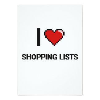 I Love Shopping Lists Digital Retro Design 13 Cm X 18 Cm Invitation Card