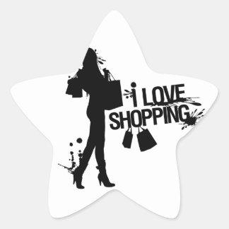 I Love Shopping Star Sticker