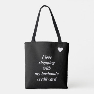 I love shopping template tote bag