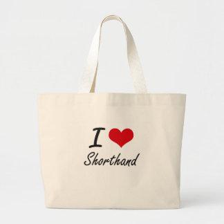 I Love Shorthand Jumbo Tote Bag