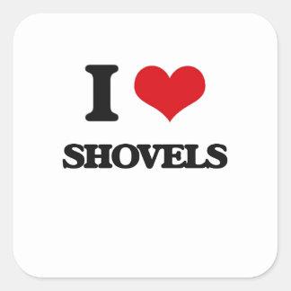 I Love Shovels Square Sticker