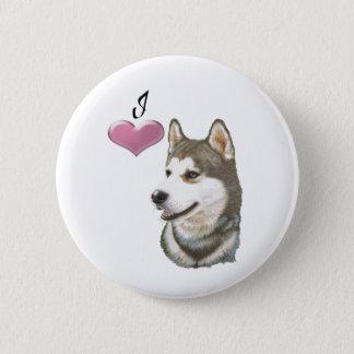 I love Siberian Husky Dog art design 6 Cm Round Badge