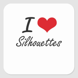 I Love Silhouettes Square Sticker