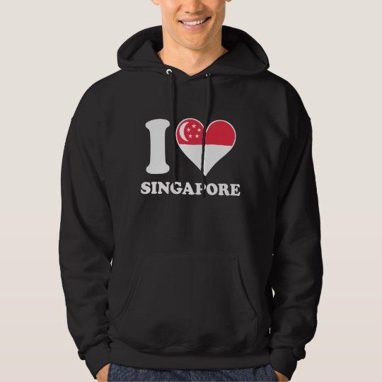 I Love Singapore Singaporean Flag Heart Hoodie