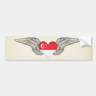 I Love Singapore -wings Bumper Sticker