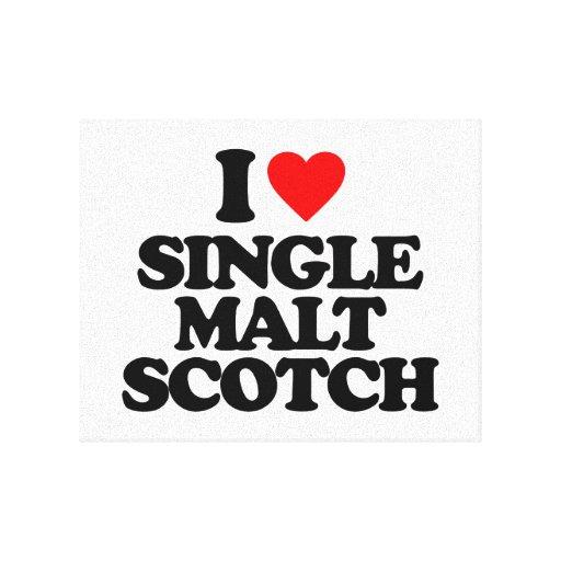 I LOVE SINGLE MALT SCOTCH GALLERY WRAPPED CANVAS