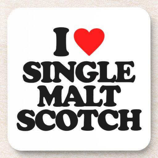 I LOVE SINGLE MALT SCOTCH DRINK COASTERS