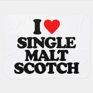 I LOVE SINGLE MALT SCOTCH RECEIVING BLANKETS