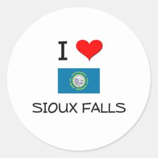 I Love Sioux Falls South Dakota Round Sticker