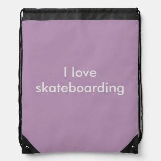 I Love Skateboarding Drawstring Backpack
