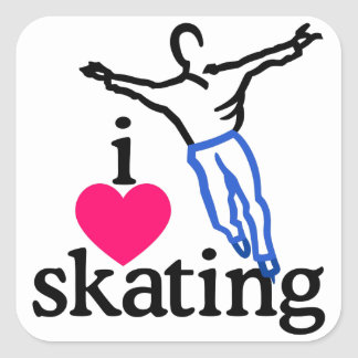I Love Skating/Skater Square Sticker