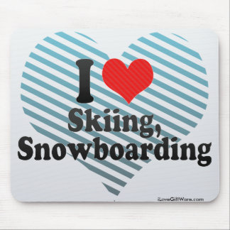 I Love Skiing, Snowboarding Mouse Pad