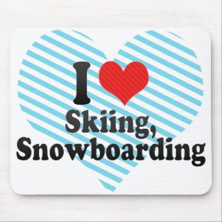 I Love Skiing, Snowboarding Mouse Pads