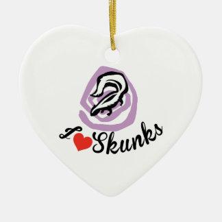 I Love Skunks Ceramic Heart Ornament