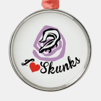 I Love Skunks Silver-Colored Round Ornament