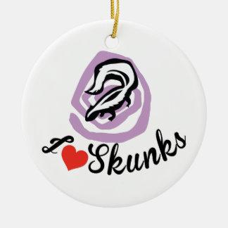 I Love Skunks Round Ceramic Ornament