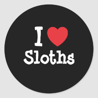 I love Sloths heart custom personalized Round Sticker