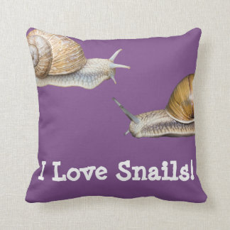 I Love Snails Snail Design Cushion