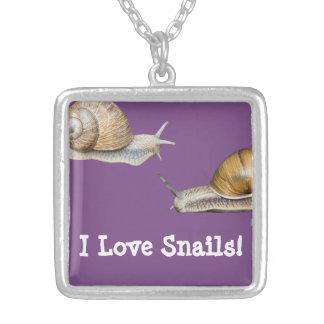 I Love Snails Snail Design Silver Plated Necklace