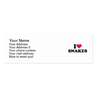 I love Snakes Pack Of Skinny Business Cards