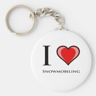 I Love Snowmobiling Key Ring