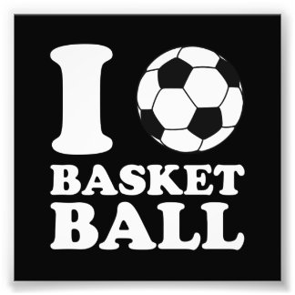I Love Soccer Ball Basketball Photo Print
