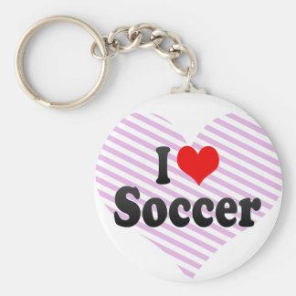 I love Soccer Basic Round Button Key Ring