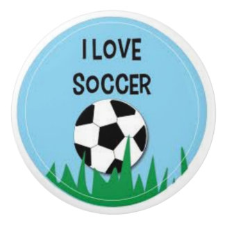 I Love Soccer Ceramic Door Knob and Pulls