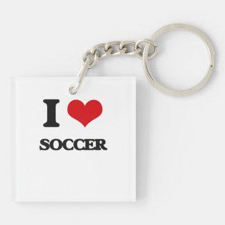 I Love Soccer Acrylic Key Chains