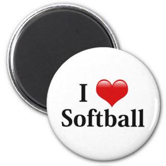 I Love Softball 6 Cm Round Magnet