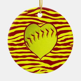 I Love Softball Ceramic Ornament