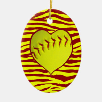 I Love Softball Christmas Tree Ornaments