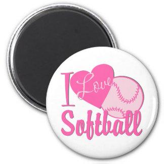 I Love Softball Pink 6 Cm Round Magnet