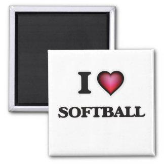 I Love Softball Square Magnet