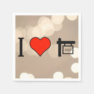 I Love Sold Homes Disposable Napkin