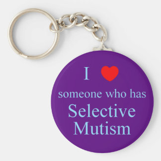 I Love Someone Selective Mutism Basic Round Button Key Ring