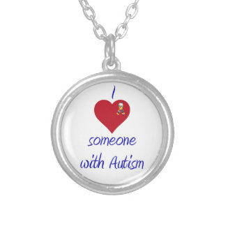 I love someone w Autism Silver Plated Necklace