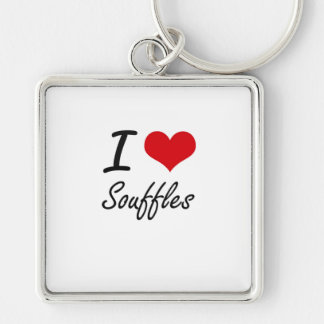 I love Souffles Silver-Colored Square Key Ring