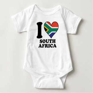 I Love South Africa South African Flag Heart Baby Bodysuit