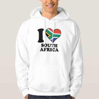 I Love South Africa South African Flag Heart Hoodie