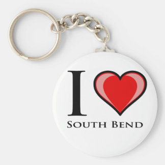I Love South Bend Basic Round Button Key Ring