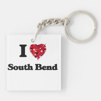 I love South Bend Indiana Double-Sided Square Acrylic Key Ring
