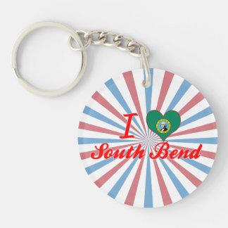 I Love South+Bend, Washington Single-Sided Round Acrylic Key Ring