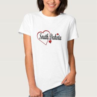 I Love South Dakota Hearts Ladies Baby Doll Tshirt