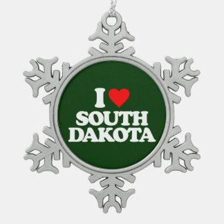 I LOVE SOUTH DAKOTA PEWTER SNOWFLAKE DECORATION