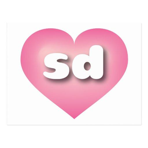I love South Dakota pink fade heart Postcard