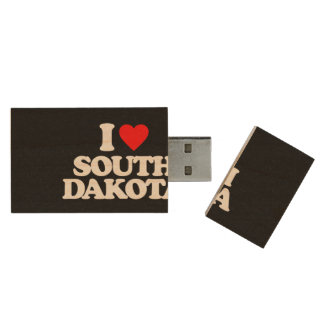 I LOVE SOUTH DAKOTA WOOD USB 2.0 FLASH DRIVE
