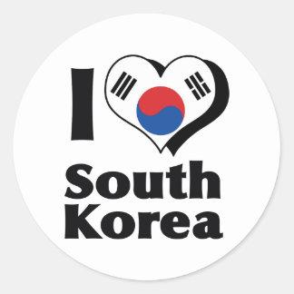 I Love South Korea Flag Classic Round Sticker