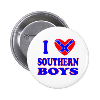 I LOVE SOUTHERN BOYS T-SHIRTS AND GIFTS 6 CM ROUND BADGE