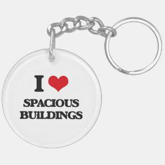 I love Spacious Buildings Double-Sided Round Acrylic Keychain